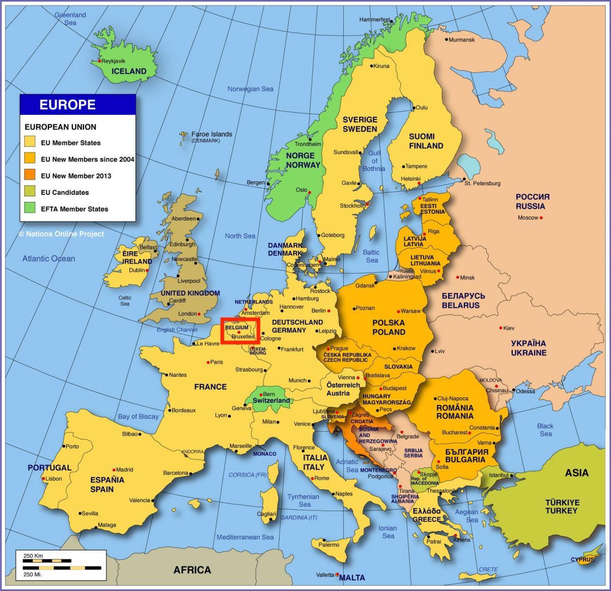 Bruxelles Harta Europei Harta Europei Arată Bruxelles Belgia